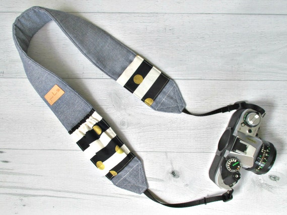 Camera Strap with Pockets | Blue Chambray Padded Strap with Black & White Striped Lens Cap Pockets