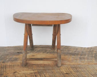 Vintage Nevco Wood Stool Fold And Carry