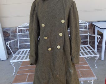 Vintage men's WWII long trench coat wool 36R original military militaria 1940's winter