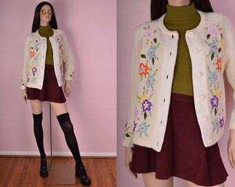 50s 60s Cream Floral Cardigan/ Medium-Large/ Vintage/ 1950s/ 1960s/ Sweater/ Long Sleeve