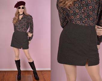 90s Plaid A-line Skirt/ US 7/ 1990s
