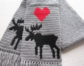 Gray Moose Scarf.  Grey, knit and crochet scarf with bull moose silhouettes and red hearts. Knitted animal scarves
