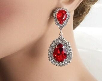 Bridal jewelry, Bridal earrings, Wedding jewelry, Teardrop earrings,  Red crystal earrings, evening  earrings, Victorian earrings