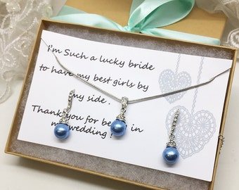 Bridesmaid jewelry set, Bridesmaid gift, bridesmaid necklace, bridesmaid earrings, Wedding jewelry set , Light Blue pearl necklace earrings