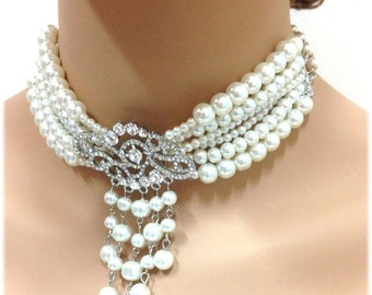 Wedding jewelry, bridal jewelry, bridal choker, bridal necklace earrings bracelet pearl jewelry, Victorian necklace, Ballroom necklace