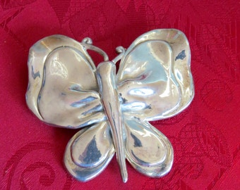 """Vintage 2.95"""" Butterfly 925 Brooch and Necklace- Stunning and huge at 23.8g"""