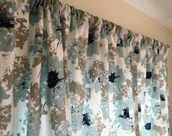 Blue and Gray Floral Curtains - Rod Pocket - 63 72 84 90 96 108 120 Long x 25 or 50 Wide