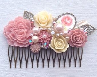 Hair Comb/Floral Hair Piece/Floral Comb/Bridal Hair Comb/Bridesmaid Gift/Wedding Hair Comb/Dusty Pink Hair Comb/Mauve Pink Comb/Bridal Comb