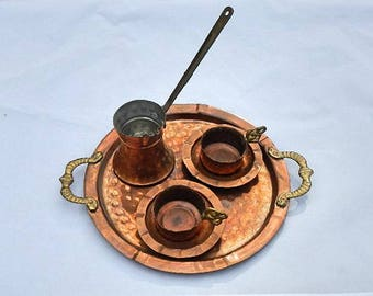 Hammered Copper and Brass Turkish Coffee Set With Serving Platter