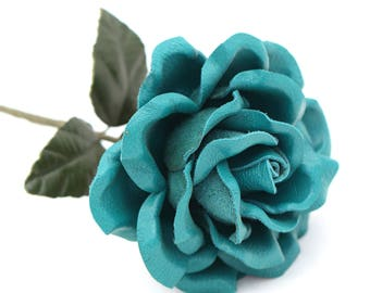 Leather Flower Teal Blue Leather Rose Third Anniversary 3rd Leather Anniversary Ninth Wedding Anniversary Gift Long Stem Rose