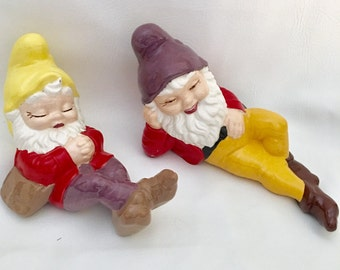Two Vintage Ceramic Large Garden Gnomes Elves, Kitsch Big Elf Figurines, Colorful Kitsch Decor