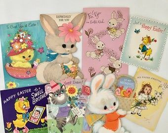 Vintage Lot Used Easter Cards, Eight Adorable Easter Greeting Cards, Easter Bunny, Chicks, Colorful Pastel Craft Supplies, Kids Holiday Card
