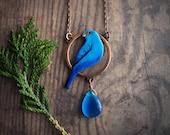 Indigo bunting enameled copper pendant, blue bird nature inspired pendant, boho style, rustic, gift for her, long chain