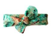 Lace baby knot headband/aqua and peach lace