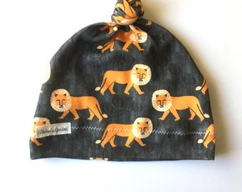 Organic Cotton Baby Hat/ Baby Knotted Hat/ Organic Cotton Hat/ Knotted Cap/ Baby Hat/ Infant Hat / lion