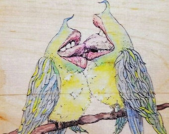 Love Birds. Art print of my original ink drawing on wood with watercolor