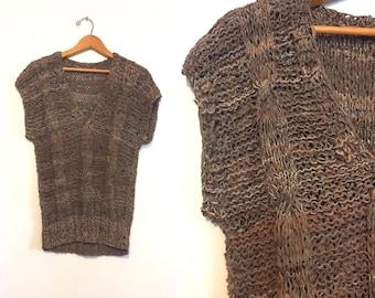 Vintage Brown Woven Leather Shirt / Hippie Boho Top / Festival Shirt