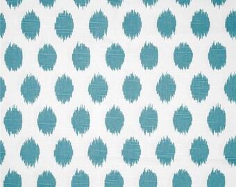 """One  78"""" x 72"""" Custom Shower Curtain - Jo Jo  Ikat Ovals - Coastal Blue"""
