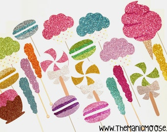 Photo Booth Props ~ The Sugar Shoppe Collection ~ Set of 20 Glittery Goodies ~ LIMITED EDITION Photo Booth Props