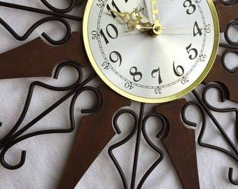 "Atomic Starburst Clock Mid Century Modern 25"" wall clock by Welby walnut and wrought iron MCM retro sunburst clock"