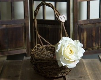 Cream Rose Twig round personalized wedding small rustic flower girl basket. Customize with flower and initials