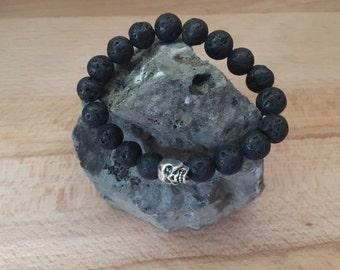 Men's skull and lava bracelet/ skull bracelet/ lava bracelet/ skull jewelry/ silver skull bracelet/ lava bead bracelet