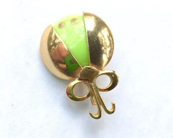Green & Gold Beetle Bug Brooch Vintage Figural Fun Fashion Jewelry