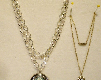 2 Gorgeous Vintage Rhinestone Cameo Locket Necklaces