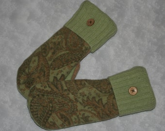 Upcycled Wool Mittens fleece lined from Recycled Wool Sweaters Paisley Sage Green Felted Wool Sweater Mittens-Womens Accessories-OOAK