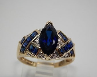 Sapphire and Diamond Ring 1.88Ctw Yellow Gold 10K 3.2gm Size 6.75