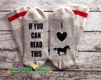 I Love Horses socks, FAST SHIP, Wine Socks, Bring Me Socks, Custom socks, Saying Socks, Novelty Socks, Christmas Socks, Stocking Stuffer