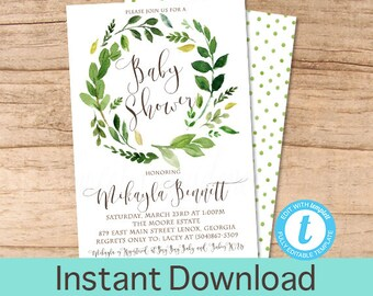 Baby Shower Invitation, Watercolor Greenery Baby Shower invitation, Botanical Watercolor Invitation, Instant Download