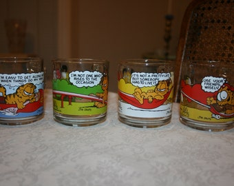 Vintage Set of Four Garfield The Cat Glass Mugs 1978 McDonald's Glass Glassware Tumbler Mug Cup
