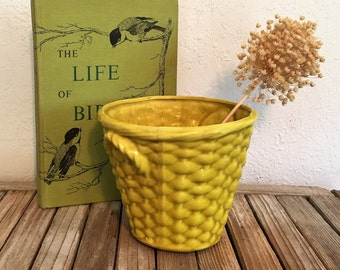 Vintage Bright Yellow Ceramic Basket Weave Pot