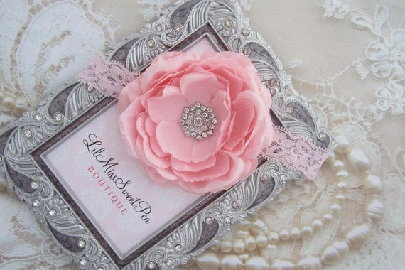 Pink Ranunculus Flower Lace Headband photos, photographer, baby girls by Lil Miss Sweet Pea Boutique