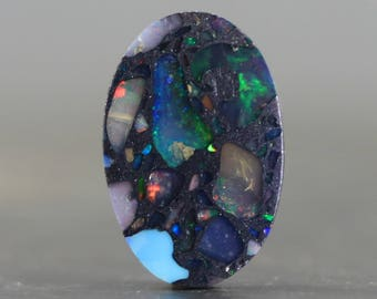 Welo Opal Cabochon Mosaic with Brilliant Flash & Opalescence - Stabilized, Colorful Gemstone from Ethiopia (CA8408)