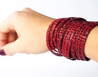 Leather Bracelet / Original Sliced Wrap Cuff / Red Cherry Woven