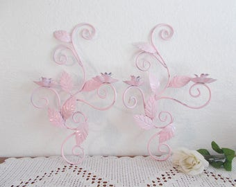 Pink Shabby Chic Wall Sconce Taper Candle Holder Set Floral Vine Two Pair Romantic Cottage Paris French Country Girl Bedroom Home Decor Gift