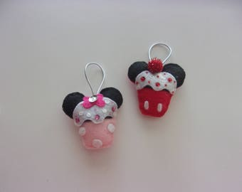 Set of 2 Handmade Felt Mickey Inspired CUPCAKE  Ornaments 3x3""