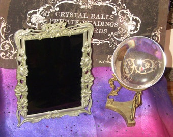 Black Mirror for Scrying and Divination Fortune Telling Kreepy Krampus Christmas Gift Gothic Victorian Antique Vintage Altar Tools