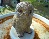 Owl Statue, Stone Figurine, Shipping Included