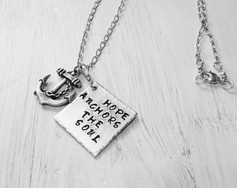 Hand stamped Hope Anchors The Soul Aluminum Necklace