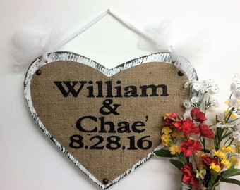 Mr Mrs name sign heart shaped burlap rustic cottage ring bearer wall decor anniversary wedding date signs handle hanging bride groom