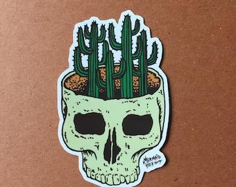 Cacti skull sticker