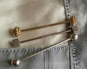 Set of 3 barbell collar bars vintage Swank