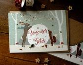 """Lot de 2 cartes postales """"Joyeuses fêtes"""""""