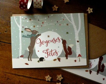 Set of 2 postcards featuring a Christmas Rabbit, a squirrel and a hedgehog