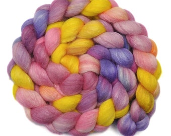 Handpainted roving - Silk / Polwarth 15/85% wool roving - 4.1 ounces - Light-Hearted Girls