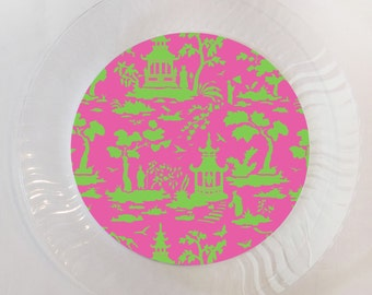 Pink and Green Chinoiserie Plastic Plate - Set of 12