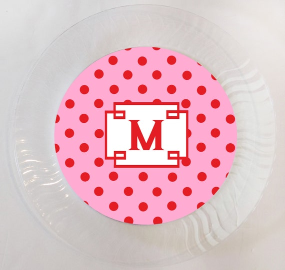 Il_570xn  sc 1 st  Catch My Party & Pink and Red Polka Dot Plain or Personalized Plastic Plate - Set of ...